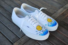 Etsy の Waterpolo Vans Authentic by BStreetShoes Custom Painted Shoes, Painted Vans, Custom Shoes, Vans Authentic, White Vans, Shoe Company, Coach Gifts, Vans Shoes, Shopping