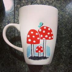 Mushroom Sharpie Mug by MagicMushroomPatch on Etsy, $7.00  #mushroom #sharpie #tea