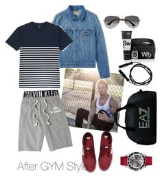 """Leg day"" by vikt0ria on Polyvore featuring Calvin Klein, Life is good, Acne Studios, NIKE, Scaramouche & Fandango, Ray-Ban, EA7 Emporio Armani, Lacoste, Uniqlo and men's fashion"