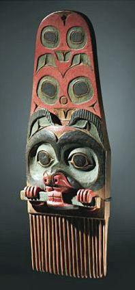 Tlingit (Alaska), Comb, paint/wood, c. mid-19th c.