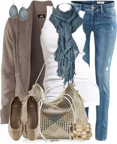 Love this look- Casual Fall Outfit With Brown Cardigan,Lace Scarf and Casual Jeans Casual Fall Outfits, Fall Winter Outfits, Autumn Winter Fashion, Casual Jeans, Comfy Casual, Casual Winter, Casual Chic, Casual Weekend, Weekend Fun