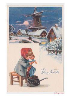 paesaggi invernali mulino a vento cartolina Natale vintage bambina bambola gioco