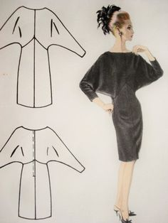 60s Sexy JACQUES HEIM Dolman Sleeve Dress от SoVintageOnEtsy