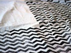 chevron block printing  how to make a chevron fabric on Design Sponge