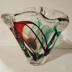 Max Verboeket for Kristalunie Maastricht Art Glass Freeform Bowl, signed  #KristalunieMaastricht