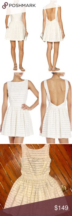 """Thakoon Addition Cream Lace Striped Dress Thakoon Addition ivory dress. Textured-knit. Lace-trimmed stripes, open back, flared skirt, fully lined. Two pockets at hips. Concealed hook and zip fastening at back. 51% polyester, 49% cotton; lining: 62% cotton, 38% silk. Dry clean. Mid-weight, non-stretchy fabric. Model is 175cm/ 5'9"""" and is wearing a size 2. EUC.  On here to declutter, 🚫 trades. If I want something in your closet badly enough, I'll buy it 😍 Reasonable offers always welcome…"""