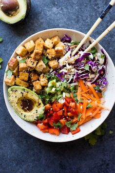 Easy Vegan Spring Roll Bowls with Crispy Tofu: Fresh, flavorful, and super simple! These Vegan Spring Roll Bowls are the perfect vegan lunch or dinner for spring.