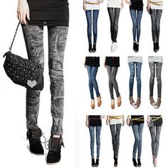 2015 Fashion Women Leggings for Women Polyester Spandex Jeans Hole Pleated Prints Casual Denim Sexy Leggings free shipping - My Accessory Closet