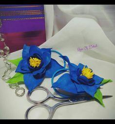 """Купить Цветы на резинке """"Невероятный синий"""" набор из двух штук. - цветы ручной работы"""