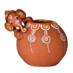 Terracotta Handpainted Baby Ganesha Rolling On The Matki - Decoratives - Decor