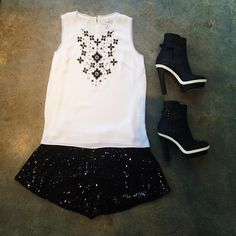 Milly Top, DVF Sparkle Shorts and Balenciaga Platform Heels #ShopMintATL Call 404-343-2033 for sizes & prices