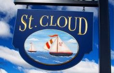 This charming little house sign sports hand painted artwork and real gold carved letters. Beach House Signs, Home Signs, Cottage Names, Property Signs, Carved Wood Signs, St Cloud, Clouds, Hand Painted, Vacation