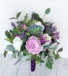 Purple Bouquet, Boho Bouquet, Rustic Bouquet, Succulent Bouquet, Purple Lilac Bouquet, Fall Bouquet, Silk Peony Bouquet, Peony Bouquet
