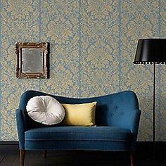 Graham & Brown - Blue Gloriana Damask Wallpaper
