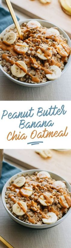 Peanut Butter Banana Chia Oatmeal The ultimate healthy breakfast recipe, this peanut butter banana oatmeal is creamy, voluminous and will keep you full all morning long! Healthy Breakfast Recipes, Healthy Snacks, Healthy Eating, Breakfast Fruit, Breakfast Ideas, Vegan Breakfast, Breakfast Bowls, Mexican Breakfast, Breakfast Sandwiches