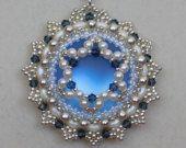 Bead Pendant, Tutorial, Pattern, Instructions, Beadweaving, Swarovski, Superduo, Lunasoft Cabochon, Elsa, Jewelry, DIY, PDF, Beaded Necklace