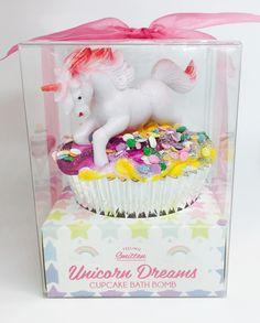 Unicorn Dreams Cupcake Bath Fizz with Pedi Scrub Icing Topper and pet unicorn! #unicorn #bath #cupcake #love