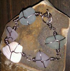 Lavender Seafoam Sea Shell Sea Glass Bracelet by MermaidsCavern, $57.00