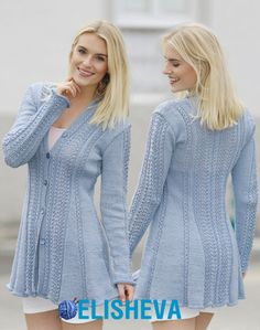"Blue Bird Song - Knitted DROPS jacket with lace pattern and shawl collar in ""Muskat"" or ""Belle"". - Free pattern by DROPS Design Crochet Jacket, Knit Jacket, Knit Cardigan, Knit Crochet, Knit Cowl, Hand Crochet, Crochet Granny, Sweater Knitting Patterns, Knitting Designs"