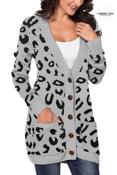 Winter Style // Add some flair to your outerwear as you wear this grey leopard-print long sleeves button-up knit cardigan.