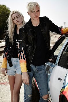 Ksubi's enlists Next Management's stars Lucky Blue Smith & Pyper America to pose for their Fall 2015 campaign captured by fashion photographer Steven Khan. Grunge Couple, Pyper America Smith, Clem, Frederique, Lucky Blue Smith, Poses, Young Fashion, Lady Dior, Guys And Girls