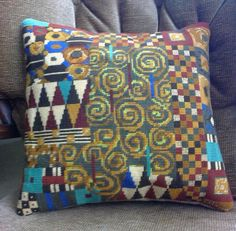 Klimt tapestry design by Candace Bahouth. Counted Cross Stitch Patterns, Cross Stitch Embroidery, Cross Stitch Pillow, Tapestry Design, Tapestry Crochet, Needlepoint, Needlework, Crafty, Throw Pillows