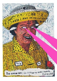 The Punk Queen of England with Laser Beam Eyes, Graphic Illustration, by Wasted Rita. Graphic Design Posters, Graphic Design Illustration, Graphic Design Inspiration, Illustration Art, Arte Punk, Punk Art, Riot Grrrl, Zine, Wasted Rita