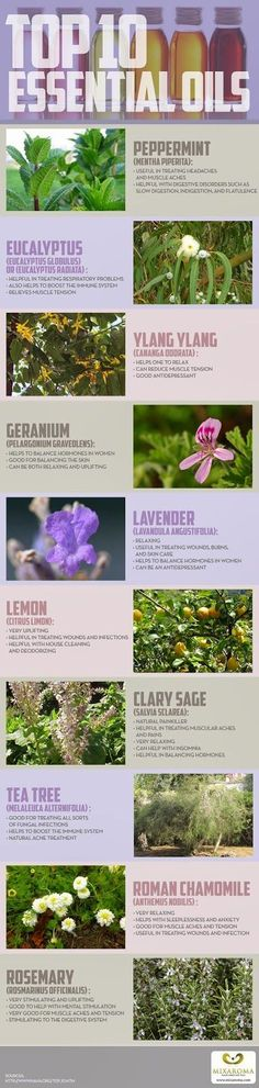 Handy infographic by SkinnyDivaBeauty presents a visual guide to the Top 10 Essential Oils, including their uses and healing applications ♥www.purasentials.com♥