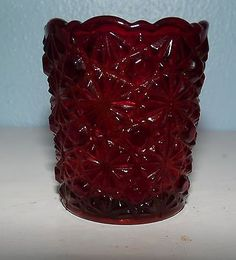 Vintage Westmoreland Ruby Red Glass Toothpick Holder Daisy and Button Pattern Red Glass, Ruby Red, Daisy, China, Button, Pattern, Vintage, Ebay, Decor