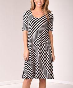 Black & White Stripe Scoop Neck Shift Dress #zulily #zulilyfinds