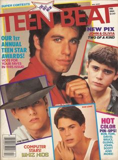 Teen Beat - Rob Lowe - Tom Cruise - John Travolta - I had posters of Rob Lowe all over my room when I was a teenager!
