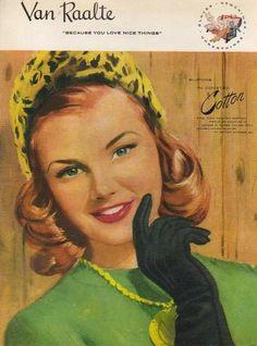 Vintage Van Raalte Slipons Gloves ad (1947). #vintage #1940s #gloves #ads