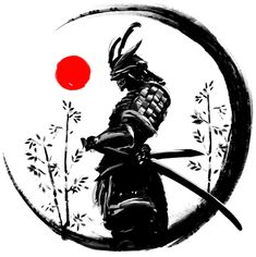 Illustration of a Japanese warrior in an ink circle with a red sun ( ) - Samurai Japanese Warrior Tattoo, Japanese Tattoo Women, Japanese Tattoo Symbols, Japanese Tattoo Art, Japanese Tattoo Designs, Japanese Sleeve Tattoos, Warrior In Japanese, Japanese Art Samurai, Japan Tattoo Design