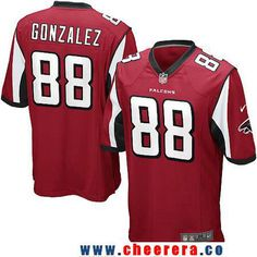 Men's Atlanta Falcons #88 Tony Gonzalez Retired Red Team Color Stitched NFL Nike Game Jersey