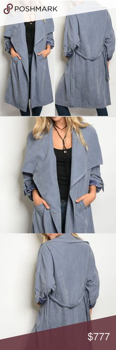 BELTED SUEDE DUSTER JACKET BRAND NEW Boutique item Price is firm  So Soft and Chic this Indigo blue faux suede belted duster jacket features classy wide lapel neckline, soft feel and pockets.  100% POLYESTER Models is a small modeling the size small True to size for style  fall winter warm timeless blues belt comfortable causal . Jackets & Coats