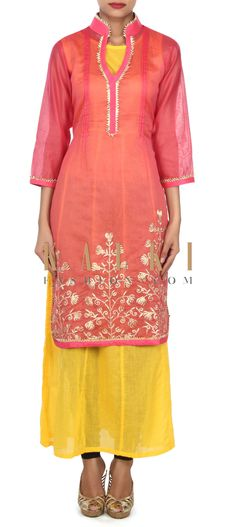 Buy this Rani pink kurti in gotta lace with yellow lining only on Kalki