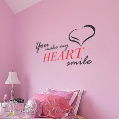 You make my heart smile vinyl wall decal that includes a heart flourish and looks great anywhere you want to make someone know they are loved...