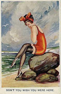 vintage seaside pin-up postcard