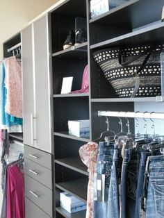 A California Closets System In Crisp White Can Still Have Major Style!  Consider Leaving The Backs Open And Painting The Walls With A Favorite  Coloru2026