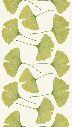 "Art Inspiration: Gingko leaf pattern  ""Gingko"" - print designed by Kristina Isola for Marimekko."