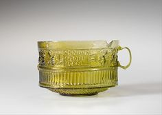 Yellow green glass cup, Adria, Italy, 1st century AD
