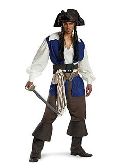 Disguise Mens Disney Pirates Of The Caribbean Captain Jack Sparrow Deluxe Costume BrownBlue White XXLarge * Check out the image by visiting the link.