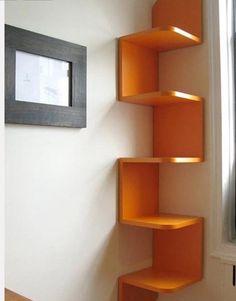aninteresting corner shelf idea