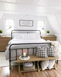 21 Enchanting Farmhouse Bedroom Ideas Anyone Can Replicate 18 Get All Ideas Abou. 21 Enchanting Farmhouse Bedroom Ideas Anyone Can Replicate 18 Get All Ideas About Home Farmhouse Bedroom Decor, Home Decor Bedroom, Bedroom Rustic, Modern Bedroom, Contemporary Bedroom, Bedroom Furniture, Tiny Master Bedroom, Master Suite, Danish Bedroom