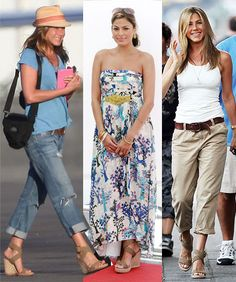 LOVE Jen's look on the right.  I actually bought those shoes (knock-off I guess) on amazon for $25.