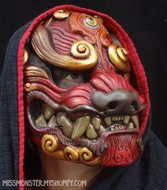 Red Komainu mask by ~missmonster on deviantART Character Inspiration, Character Design, Oni Mask, Fu Dog, Cool Masks, Masks Art, Cosplay, Creature Design, Headgear