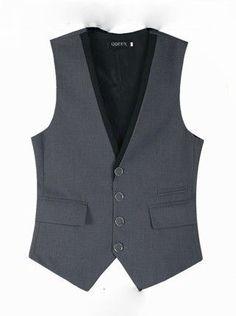 Men Suit Vest 4 Buttons V Collar Classic Dress Slim Fit Vests Male Sleeveless Brand Mens Formal Wedding Waistcoat Plus Size 3XL