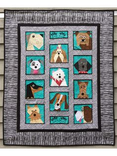 """Pattern includes instructions for a 42"""" x 51"""" quilt. Dogs included are Great Dane, Terrier, Dachshund, Yorkie, Shih Tzu, Westie, Beagle, Bull Dog, Labradoodle, Airedale, and Saint Bernard. Each block is 8"""" x 8""""."""