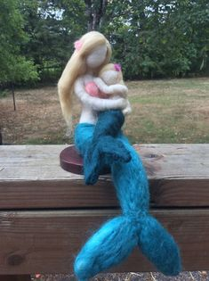 Needle Felted Mermaid Mother and Child by radishwoolworks on Etsy