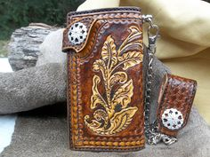 Handmade, Handtooled Western Swag Leather Chain Wallet for Cowboys, Country Boys, Bikers and Men by POPSLEATHERSHOP on Etsy